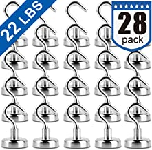 Magnetic Hooks, Strong Neodymium Magnet Hook for Home, Kitchen, Workplace, Office and Garage, Pack of 28
