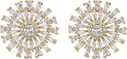 Geo Flower CZ Stud Earrings
