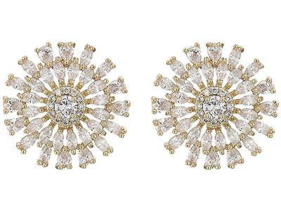 Nina Geo Flower CZ Stud Earrings (Gold/White CZ) Earring