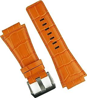 B & R Bands Bell & Ross BR01 BR03 Orange Gator Leather Watch Band Strap - Medium Length