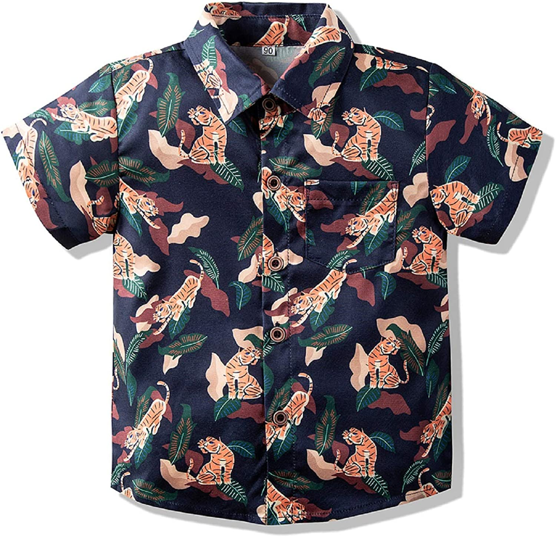 Baby Boys Button Down Shirts Hawaiian Cartoon Print Slim-Fit Short Sleeve Cool Dress Shirt Cute Top for Kids