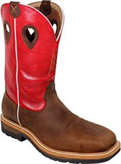 Mens Boots Red Leather Steel Toe