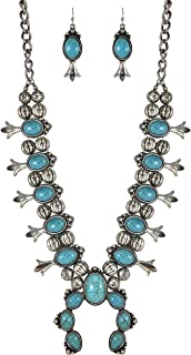 Turquoise Squash Blossom Vintage Metal Statement Necklace/w Earrings No.95