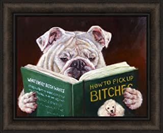 Casanova by Lucia Heffernan 18x22 Humorous Funny Dog Reading Pick Up Bitches Book Framed Art Print