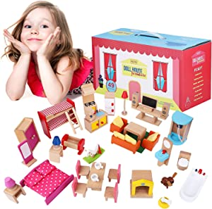 Wooden Dollhouse Furniture Set – 49-Piece Kit, 7 Rooms, 1:12 Scale – Doll House Bathroom, Dining Room, Master Bedroom, Kids & Baby Rooms, Full Kitchen, Living Room, Doghouse – Kids Toy Accessories