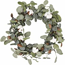 FAVOWREATH 2018 Vitality Series FAVO-W48 Handmade 15 inch Green Leaf,Cotton Grapevine Wreath For Summer/Fall Festival Celebration Front Door/Wall/Fireplace Laurel/Eucalyptus Hanger Home Relaxed Decor