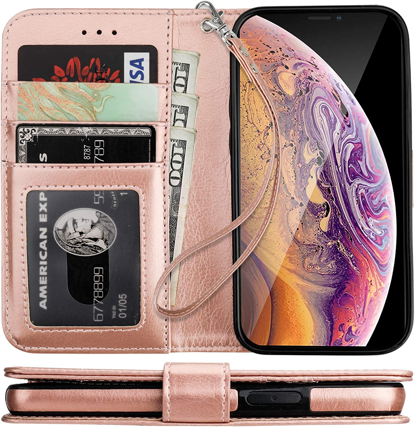 Bocasal iPhone Xs iPhone X Wallet Case with Card Holder PU Leather Kickstand Shockproof Protective Wrist Strap Flip Cover for iPhone Xs/X 5.8 inch (Rose Gold)