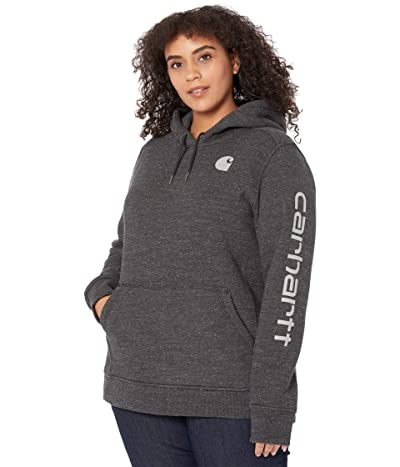 Carhartt Plus Size Clarksburg Sleeve Logo Hooded Sweatshirt (Black Heather Nep) Women