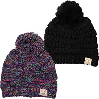 Kids Baby Toddler Cable Knit Children's Pom Winter Hat Beanie