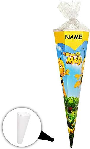 10 Stück _ Schultüten -   Biene Maja   - 50cm   - 6-eckig - incl. NAME - mit Tüllabschlu  Zuckertüte - mit   ohne Kunststoff Spitze - Jungen mädchen - Tiere ..