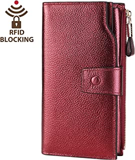 Itslife Women's RFID Blocking Large Capacity Luxury Leather Clutch Wallet Card Holder Organizer Ladies Purse Wine Red Gold