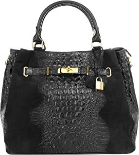 Cluty Handtasche Echt Leder schwarz Damen - 017032