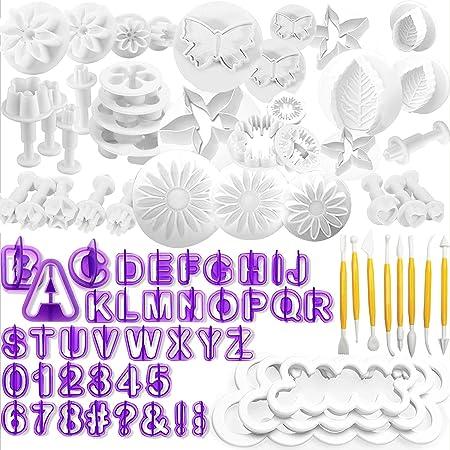 WJMY Fondant Outils Ensemble 84Pcs Outils de Modelage de Décoration de Gâteau avec Tampons Fleurs Lettres Chiffres Emporte Pièce Tampon pour Gâteau Cutter