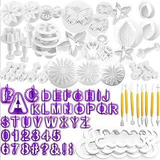 WJMY Fondant Outils Ensemble 84Pcs Outils de Modelage de Décoration de Gâteau avec Tampons Fleurs Lettres Chiffres Emporte...