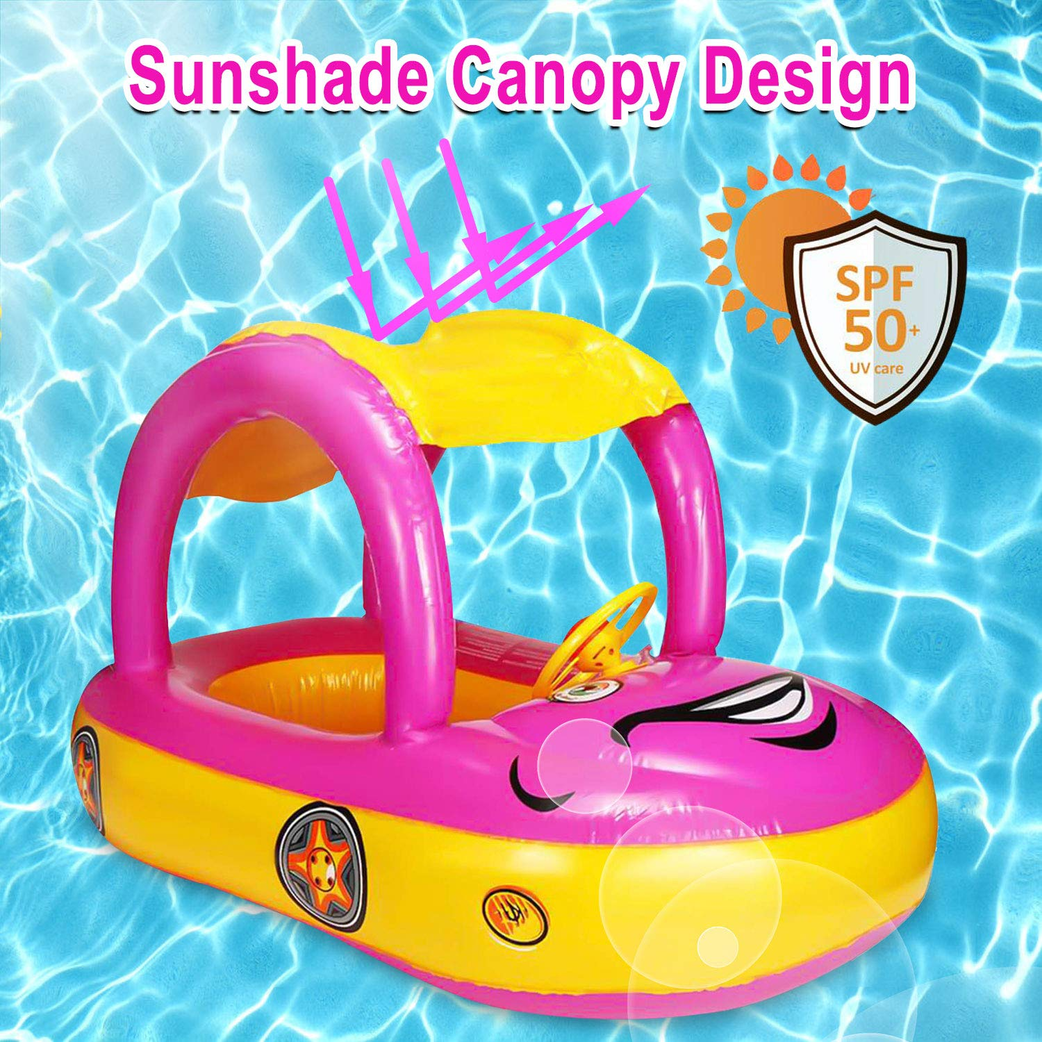Baby Swim Float with Canopy Car Shaped Inflatable Swimming Ring Boat with Sunshade for Boys Girls Toddler Infant Float for Pool Floating Cartoon Boat Summer Outdoor Play Fit 3-36 Months, Maximum 44lb
