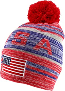 Armycrew USA American Flag Embroidered Pom Pom Thick Knitted Beanie