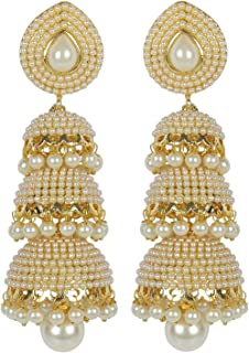 Shining Diva Jewellery Stylish Fancy Party Wear Pearl Jhumki/Jhumka Traditional Earrings for Women and Girls(White)(8061er)
