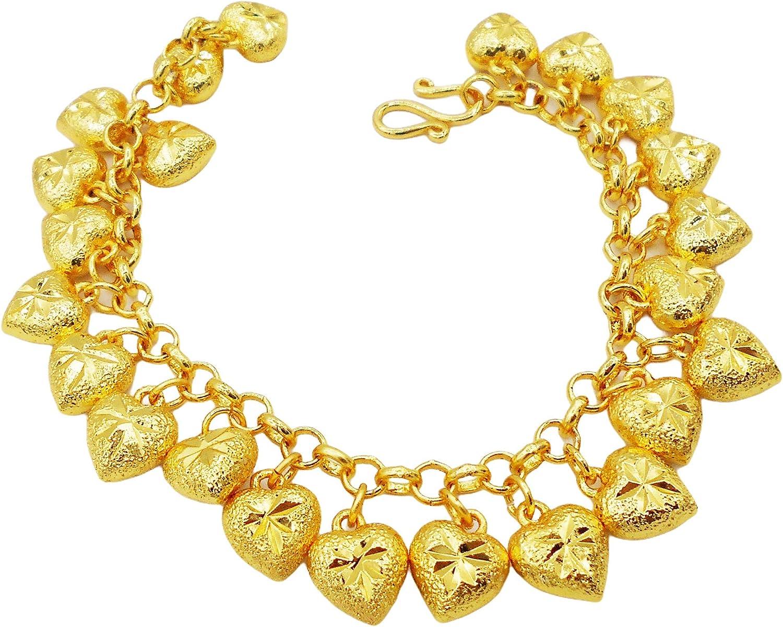 Lovely Heart Hanging Bracelet 22k 23k 24k Thai Baht Gold Plated