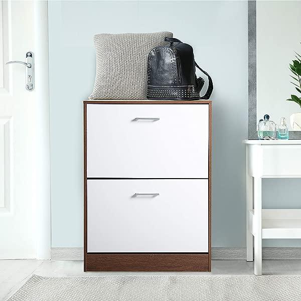 CAP LIVING 2 Tier Drawer 3 Tier Drawer Modern Convenient Shoe Storage Cabinet Organizer In Oak White Finish