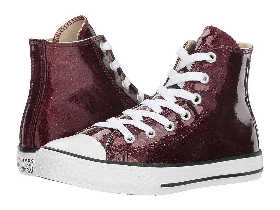 Converse Kids Chuck Taylor(r) All Star(r) Glitter Hi (Little Kid/Big Kid) (Dark Burgundy/Natural/White) Girl