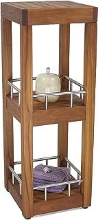 AquaTeak Patented Sula Square Three Tier Teak & Stainless Bath Stand