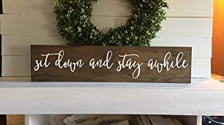 DKISEE Sit Down and Stay Awhile, Sit Down and Stay Awhile Sign, Wood Sign, Wooden Sign, Home Sign, Custom Sign, Rustic Wall Art Home Decor, 3x12 inches