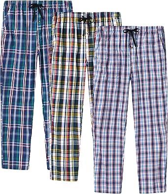 JINSHI Mens 100% Cotton Plaid Pyjama Bottoms Lounge Shorts/Pants Button Fly