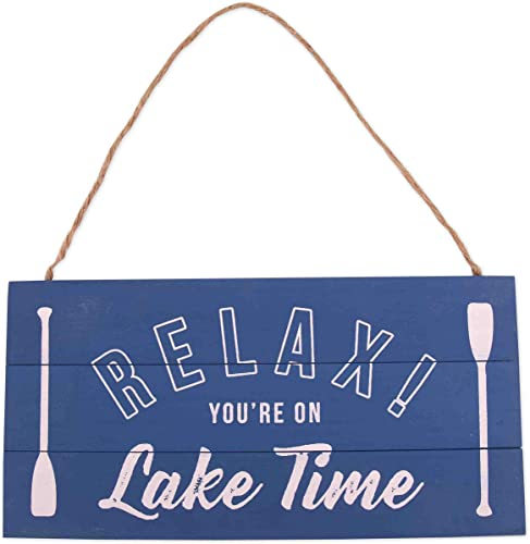 new arrival GSM Brands Lake Time online Wood Plank Hanging Sign new arrival (13.75x6.9) sale