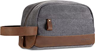 ProCase Travel Toiletry Bag Shaving Dopp Kit, Vintage Genuine Leather Canvas Grooming Shaver Bag Toiletry Bags Case For Mens -Gray