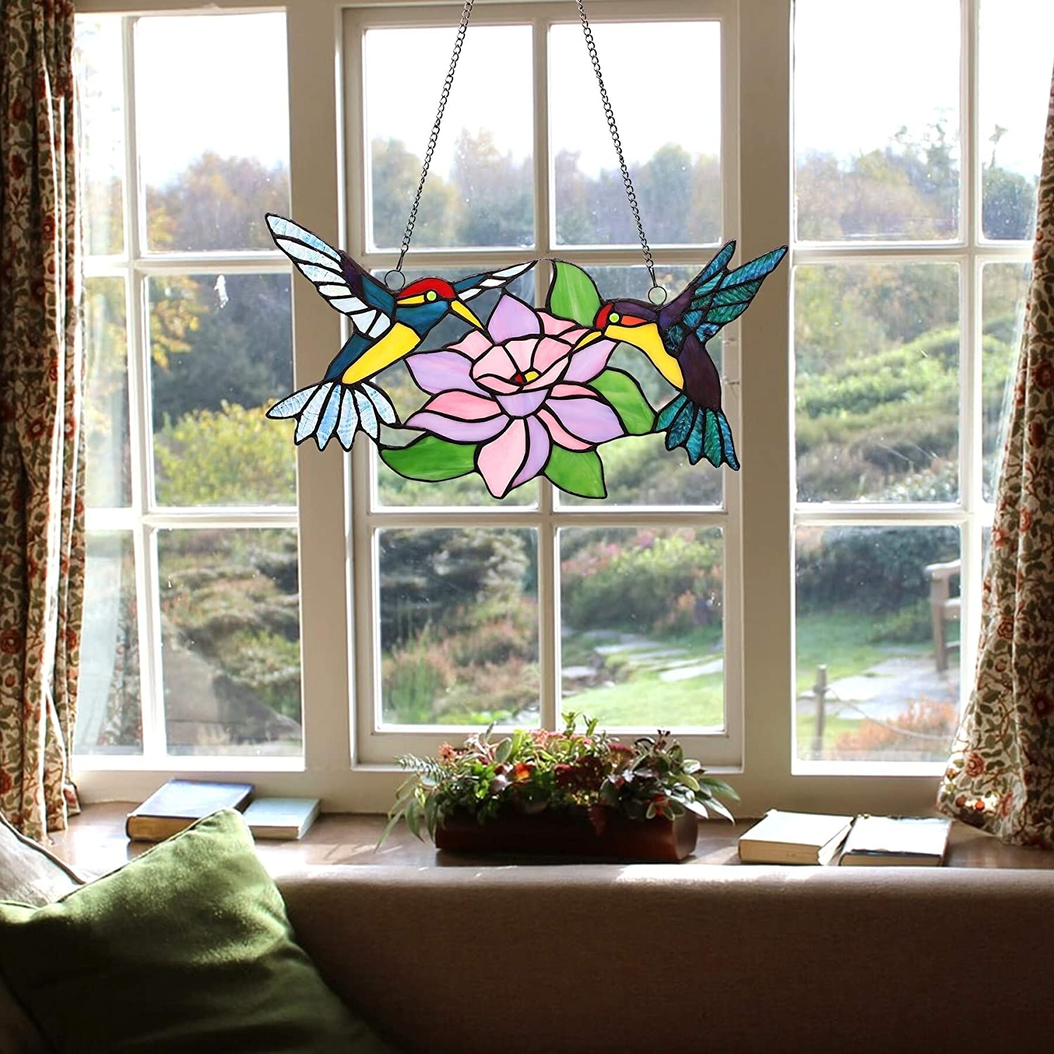 UKN Columbus Mall Stained Glass Hummingbirds with Gr Window Blue Panel Over item handling Blossom