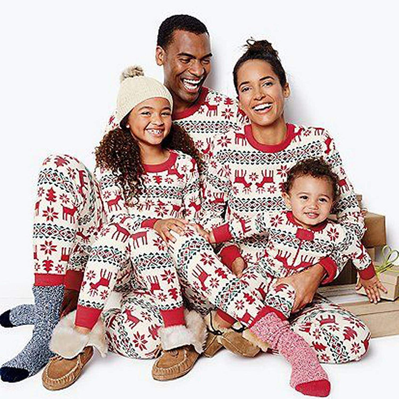 MoneRffi Family Matching Pajamas Set Christma Festival Outfits Sleepwear Loungewear Set for Womens//Mens//Kids//Baby