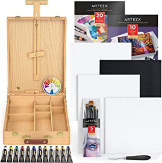 Arteza Large Acrylic Art Set, Artist Painting Kit include Art Paint, Canvases, Paper Pads, Brushes, Easel, Art Supplies Pa...
