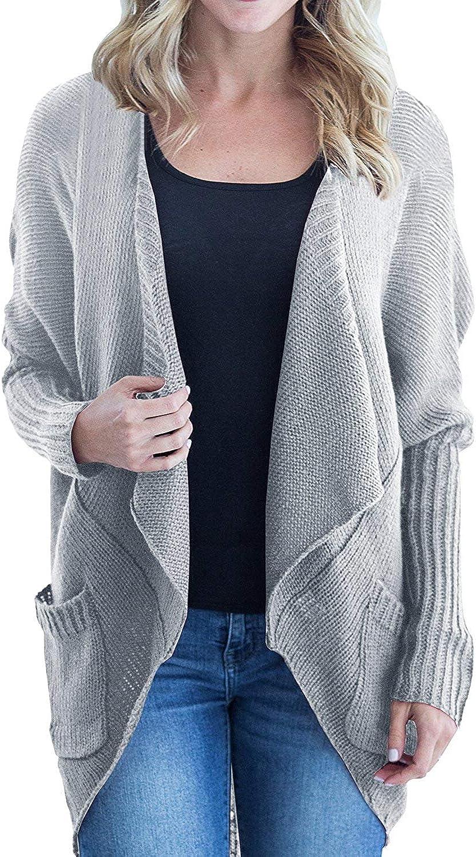 Imily Bela Womens Casual Open Front Crochet Dolman Sleeve Slouchy Cardigan Sweater