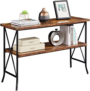 Industrial Sofa Console Table with Storage, 2-Tier High-Leg Wood and Metal Entry Tables with Open Shelves, Rustic Entryway/Hallway Table for Living Room (46 Inch, Rustic Brown)