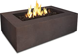 Real Flame Baltic Rectangle Natural Gas Fire Table, Kodiak Brown, 50000 BTU