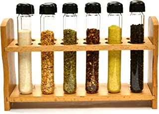 """لوله رول تیتانیوم دست ساخته شده، قفسه چوبی با 12 لوله آزمایش بوروسیلیکات شیشه ای (6 """"طولی، 1"""" دی.) با کلاه و قیف"""
