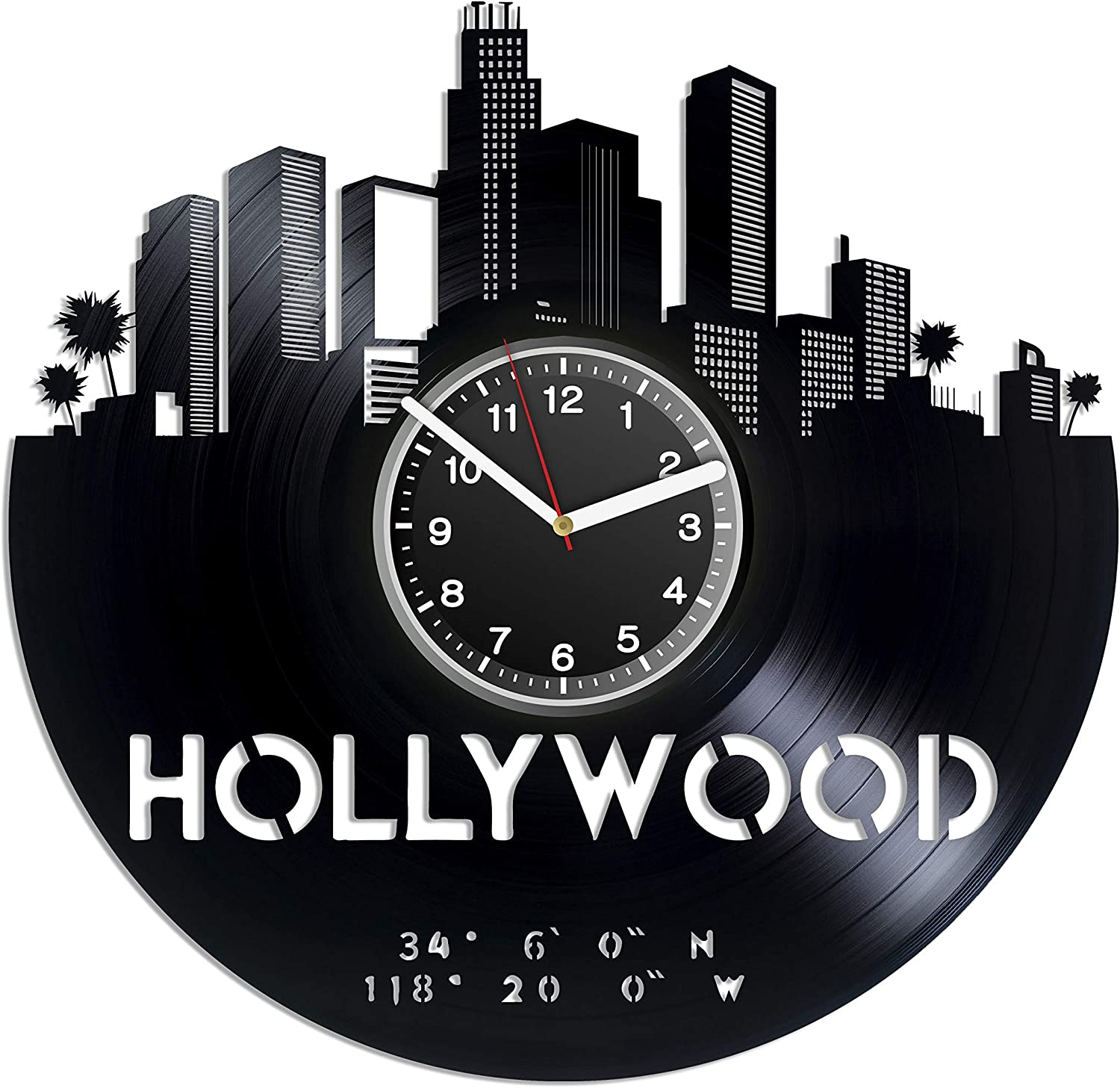 Kovides Hollywood Wall Clock Los Angeles California Vintage Record Clock Hollywood Art B-Day Gift Idea for Woman Gift Idea for Men American Film Industry Minimalist Decor for House