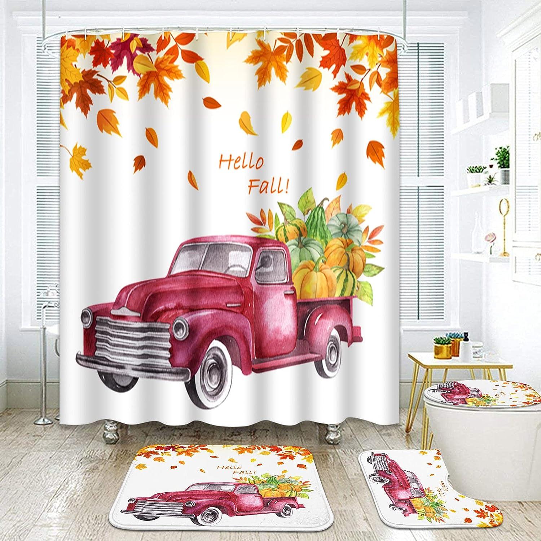 ArtSocket Max 44% OFF 4 Pcs Shower Curtain Set Red wi Truck Autumn Daily bargain sale Farmhouse