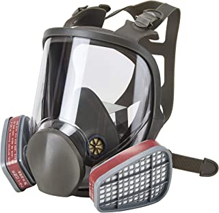 Holulo Full Face Facepiece Respirator Paint Spray Mask with 2 x Organic Vapor Cartridges