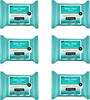 Neutrogena Deep Clean Purifying Micellar Cleansing Makeup Remover Wipes, 25 Count (Pack of 6)