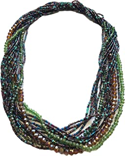 Mayan Arts Multi Strand Beaded Necklace, Multicolor Brown and Blue Tones, Sparkly Beads, Women Necklaces, Jewelry, Magnetic Clasps, 19.5 Inches Long