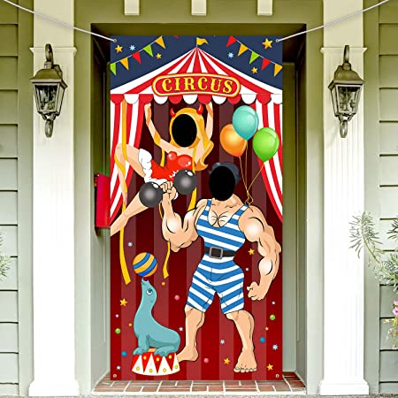 Carnival Circus Party Decoration Carnival Photo Door Banner Backdrop Props, Large Fabric Photo Door Banner para Carnival Circus Party Decor Carnival Game Supplies (Hércules)
