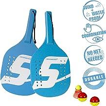 Speedminton Light Wooden Beach Paddle 2 Player Set - Incl. 2 Balls & 1 Original Fun Speeder Birdie - Perfect Alternative to Smashball & Beach Tennis