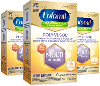 Enfamil Poly-Vi-Sol with Iron Multivitamin Supplement Drops for Infants and Toddlers, 50 mL dropper bottle, Pack of 3