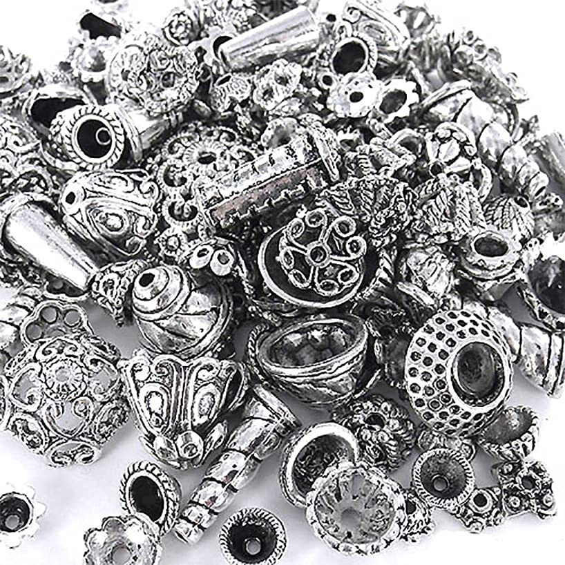 eCrafty EC-5003 70-Piece Bali Style Jewelry Making Metal Bead Caps Deluxe New Mix, 100gm, Silver