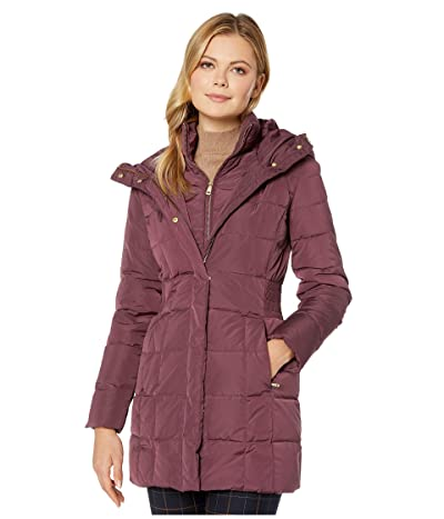 Cole Haan Down Coat with Bib Front and Dramatic Hood (Merlot) Women