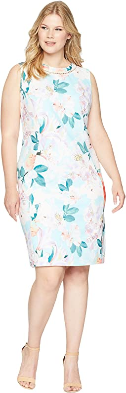 Plus Size Printed Sheath with Pearls At Neck
