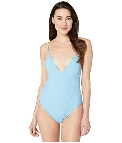 Polo Ralph Lauren Ribbed Modern Off-the-Shoulder Binding Mio One-Piece Swimsuit (Blue Crush) Women