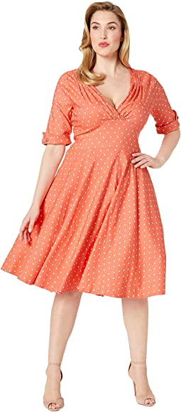 760502889d4 Coral White Dot. 11. Unique Vintage. Plus Size Pantone x Unique Vintage  1950s Delores Swing Dress ...