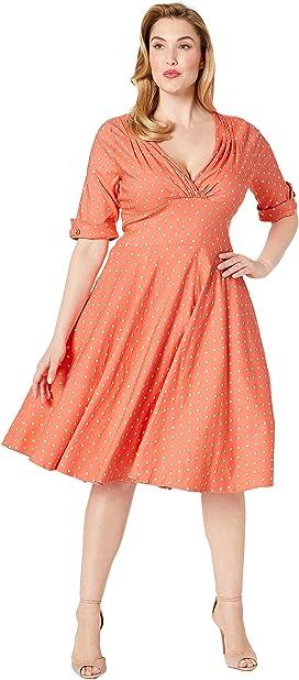 6f4d02df6ebf Plus Size Pantone x Unique Vintage 1950s Delores Swing Dress with Sleeves